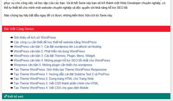 Hướng dẫn tạo Serie bài viết cho WordPress